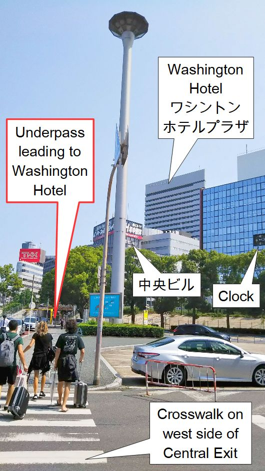 JR Shinosaka Station Central Exit southwest crosswalk.jpg